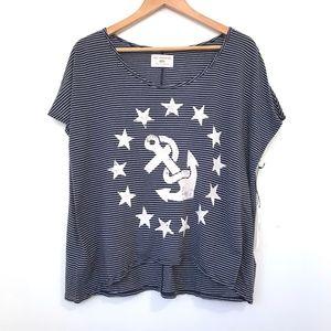 NWT Sol Angeles Striped Anchor Nautical T-Shirt